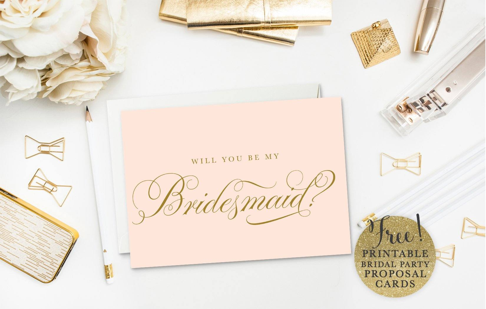 A pink bridal party proposal card.