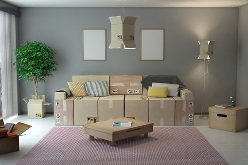 Living Room Interior Design With Cardboard Boxes