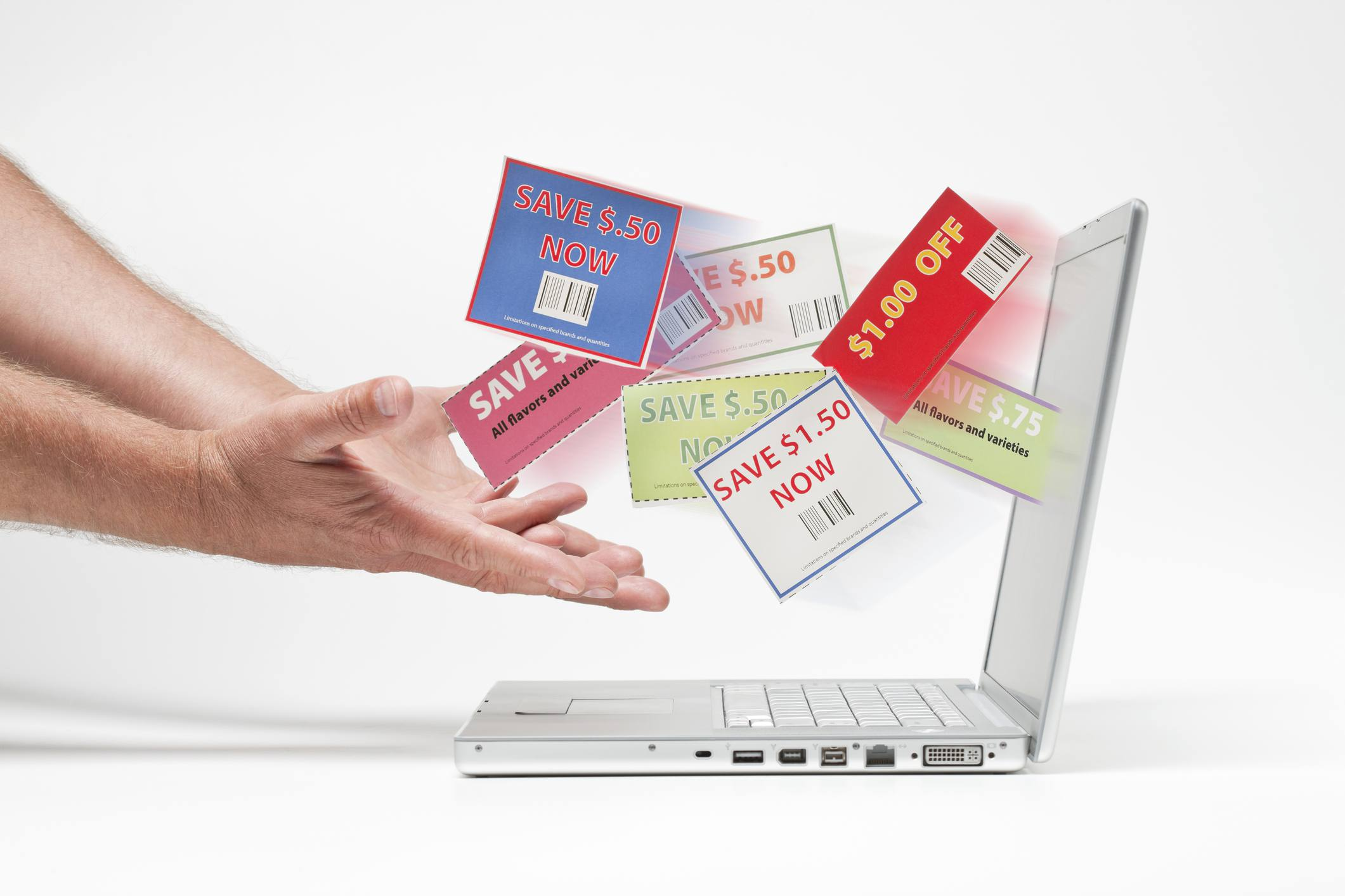 coupons coming out of laptop screen into man's hands