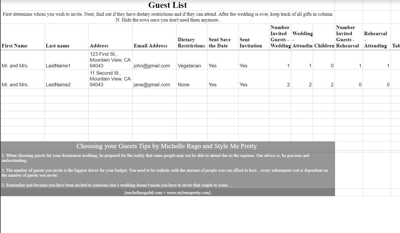 A wedding guest list template open in Google Docs