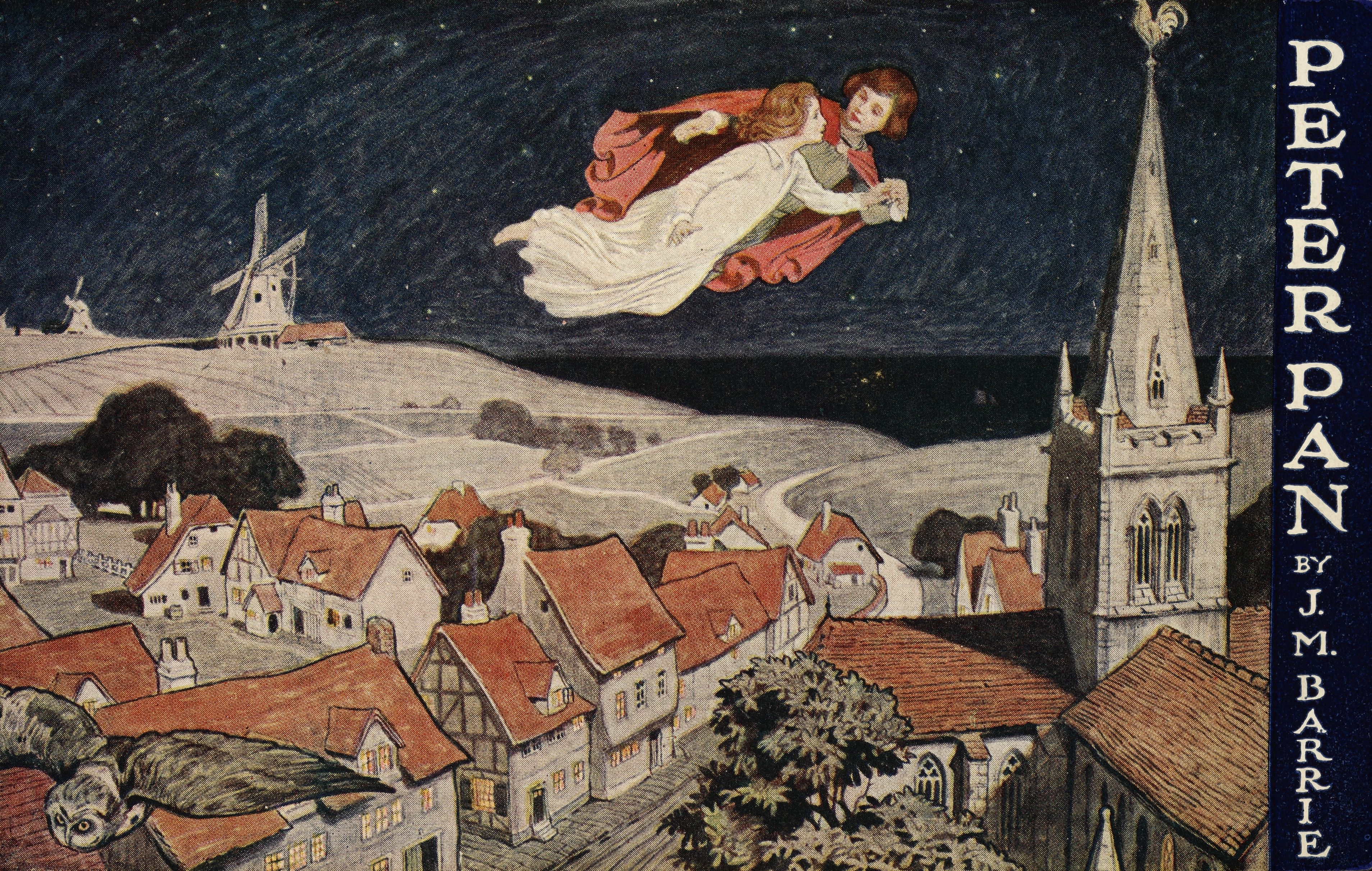 Illustration of Peter Pan and Wendy flying