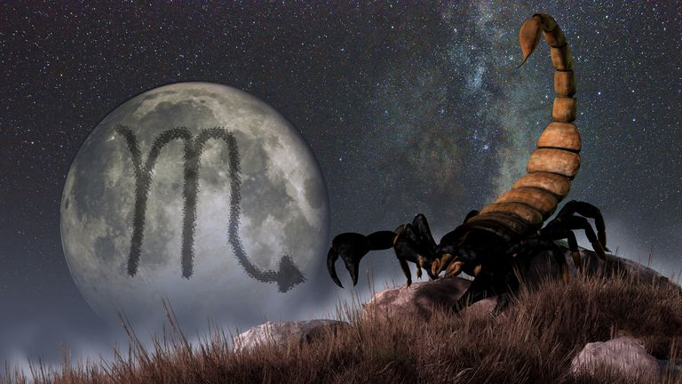 Moon with Scorpio glyph in background and scorpion in foreground