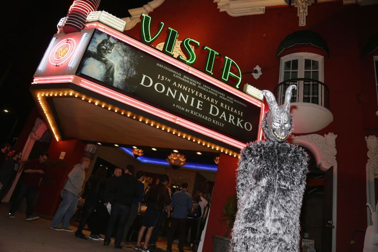 Donnie Darko rabbit in front of theater