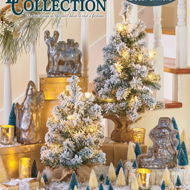 The cover of the Christmas 2019 Lakeside Collection catalog featuring Christmas trees on a table