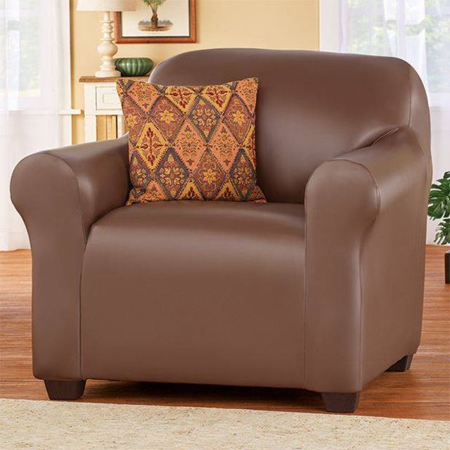 A brown leather chair sold by Collections Etc.