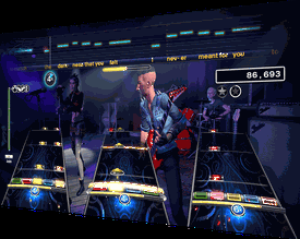 A band performs in Rockband 4