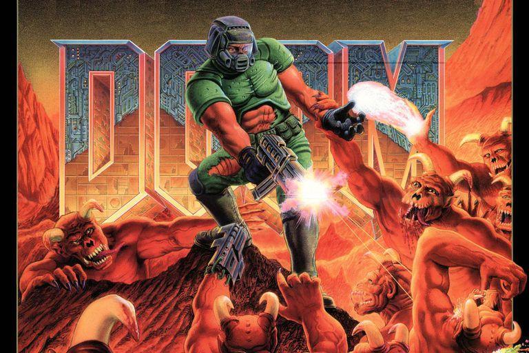 Doom soldier shooting hordes of demons
