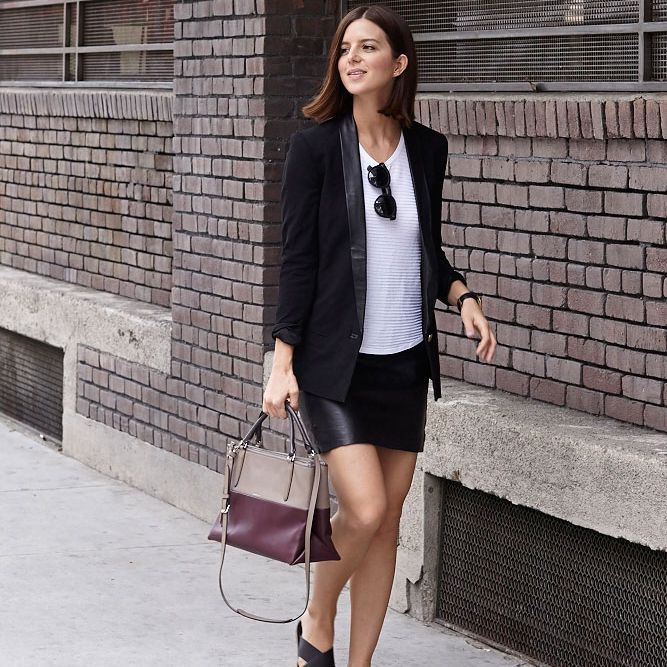 0ffa9debe Chic Leather Skirt Outfit With Black Blazer. Take Aim