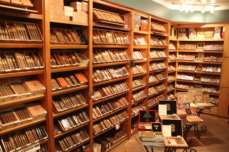 Walk-in humidor at Lone Wolf Fine Cigars & Men's Accessories in Santa Monica, California