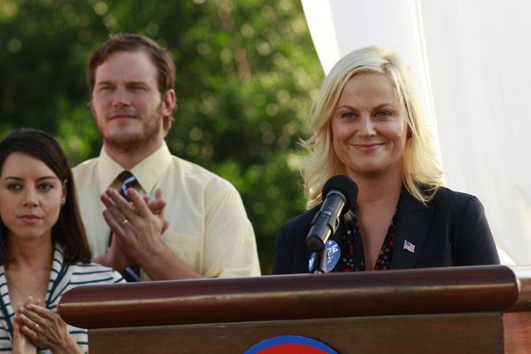 Aubrey Plaza, Chris Pratt and Amy Poehler in the episode 'I'm Leslie Knope' from 'Parks and Recreation' Season 4