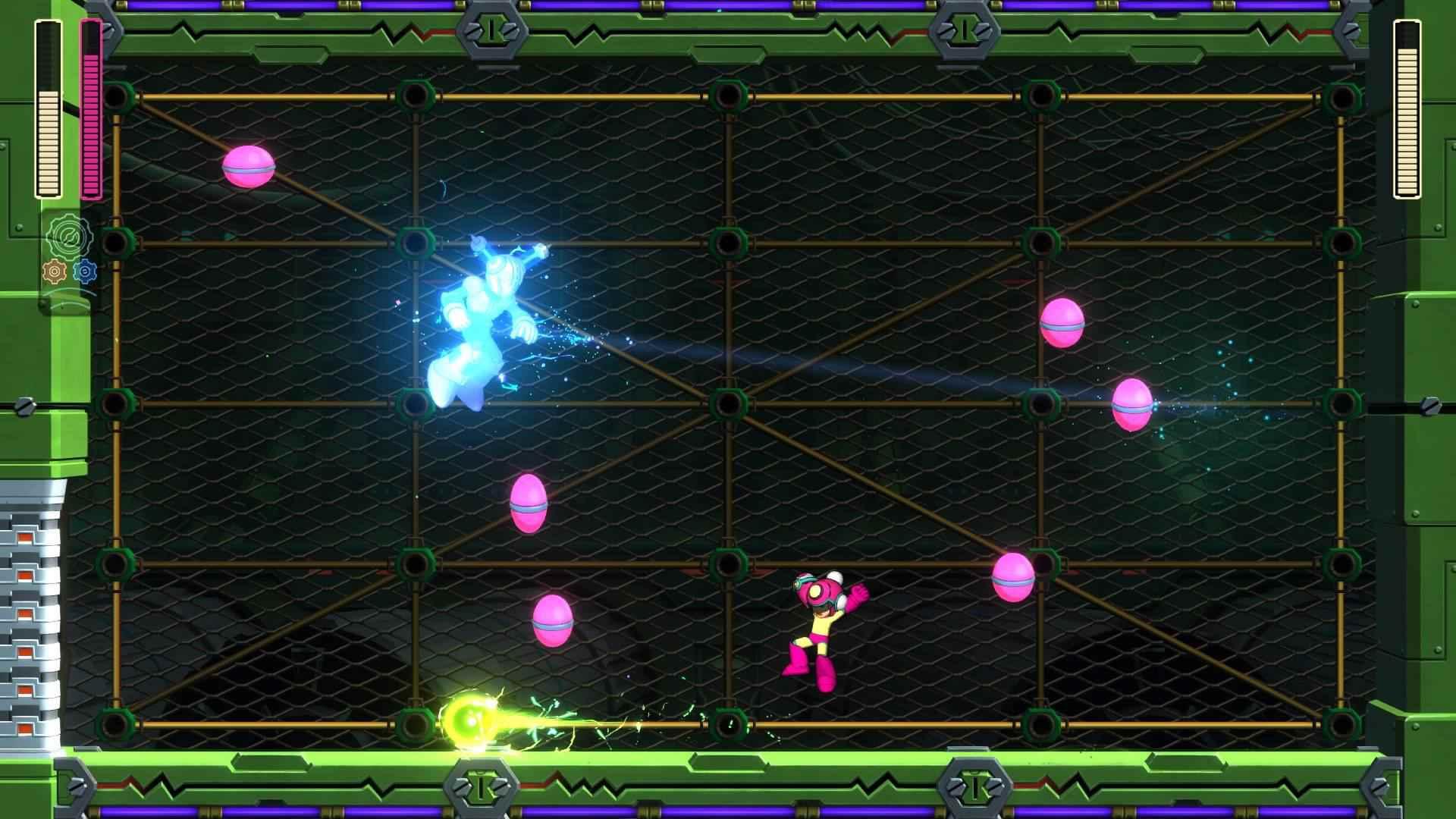 Mega Man attacks Fuse Man in Mega Man 11
