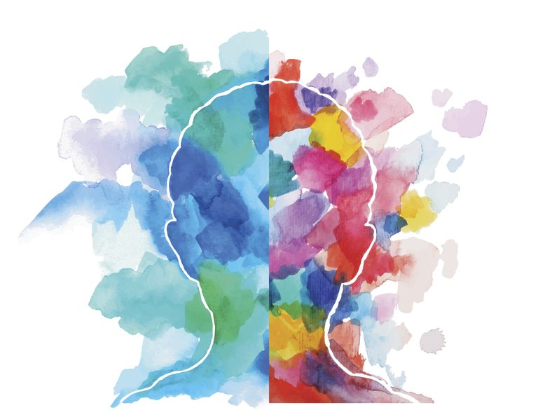 Watercolor painting illustrating right brain left brain