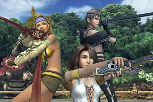 Yuna, Rikku, and Paine in Final Fantasy X-2 HD for PS4.