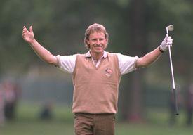 Golfer Bernhard Langer during practice for the 1995 Ryder Cup