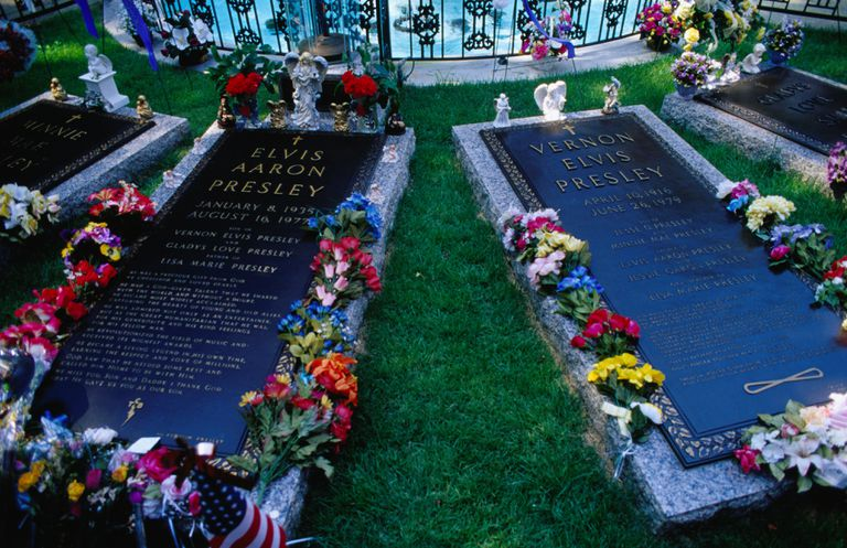Elvis Presley's grave at Graceland in Memphis, Tennessee.