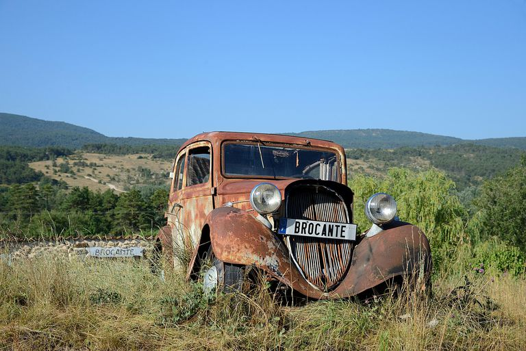 Rusty Vintage Peugeot 201 Car