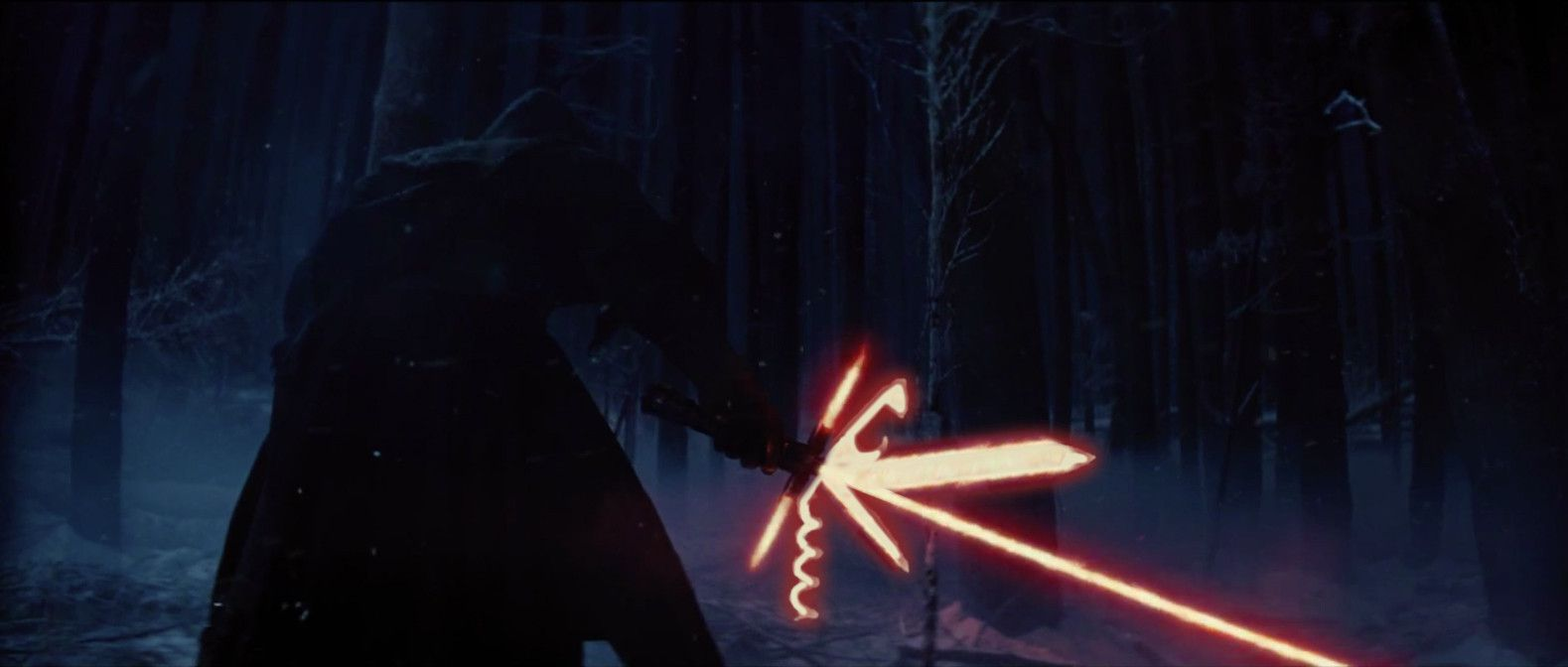 Kylo Ren and his tri-lightsaber
