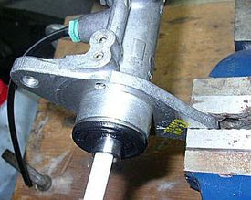 Master cylinder clamped securely in a vise