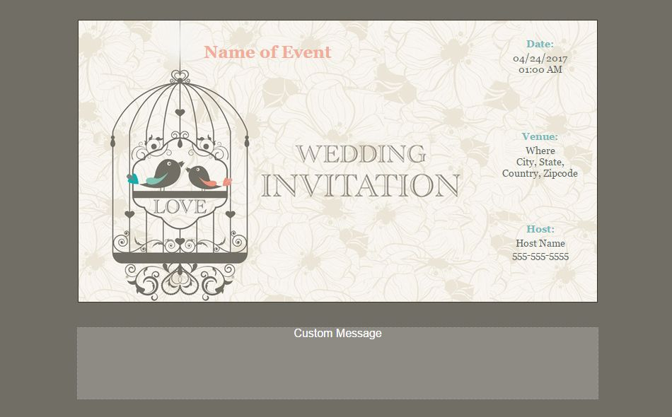 An online wedding invitation with two love birds