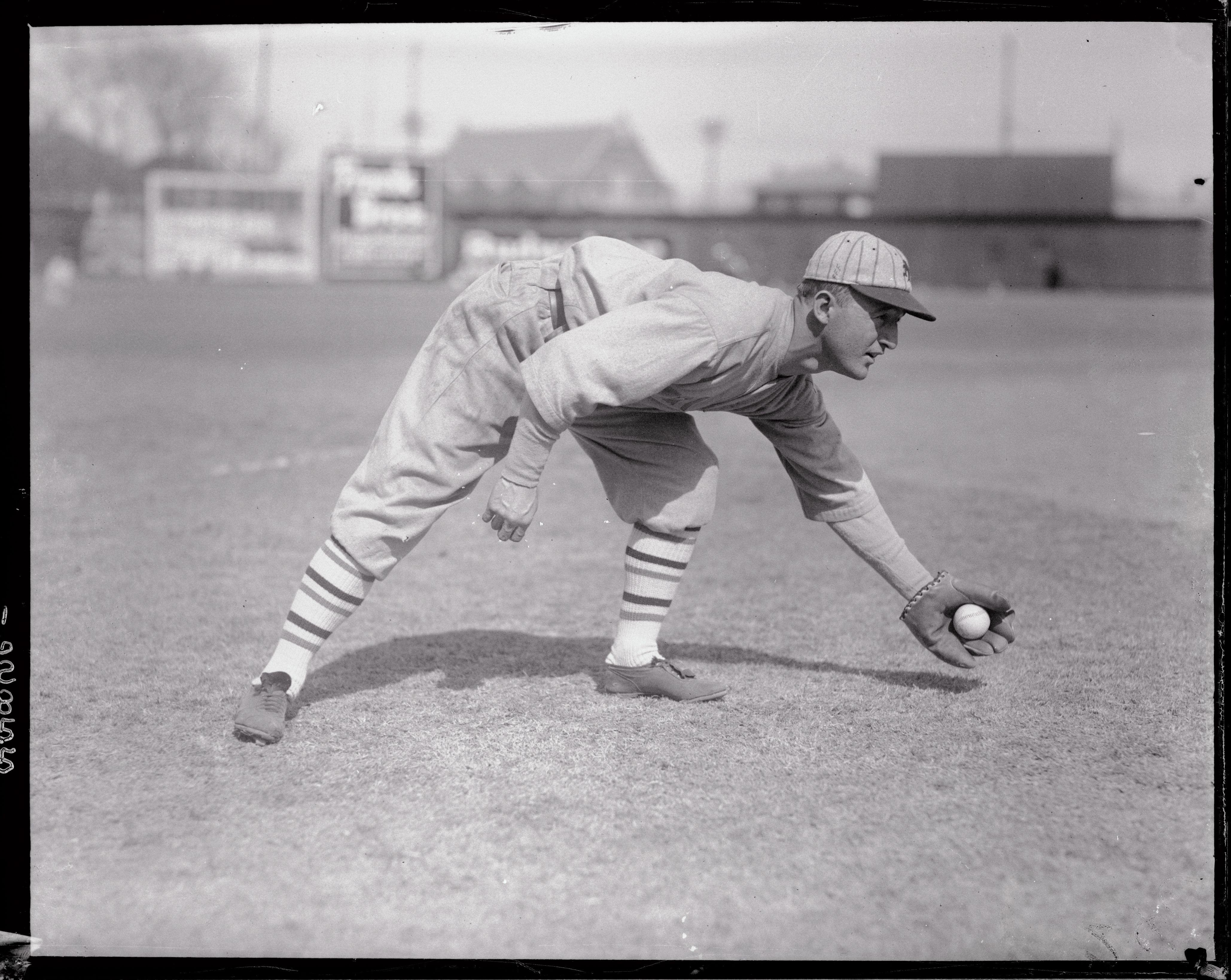 Frank Frisch Catching Baseball on the Ground