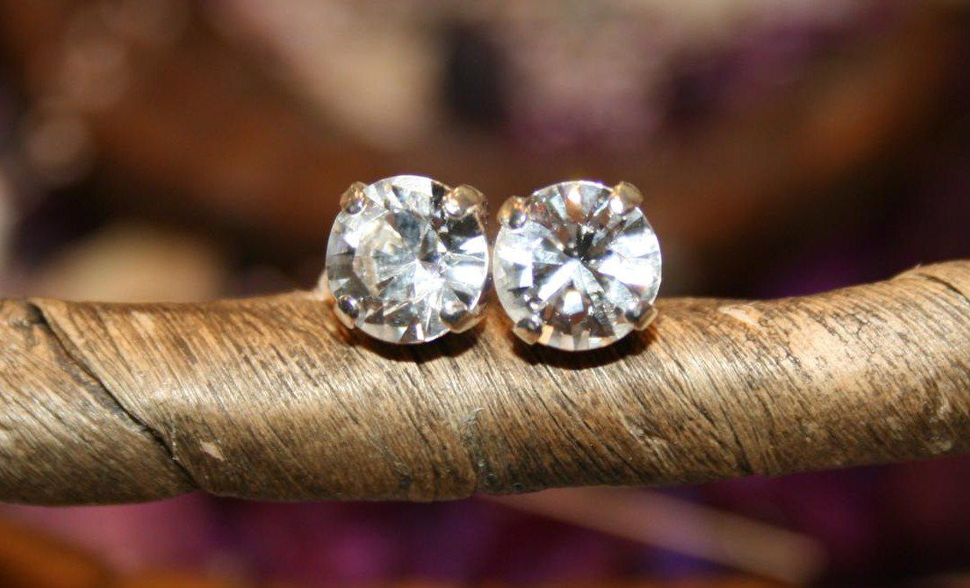 Swarovski Earrings Clear Crystal Silver with studs