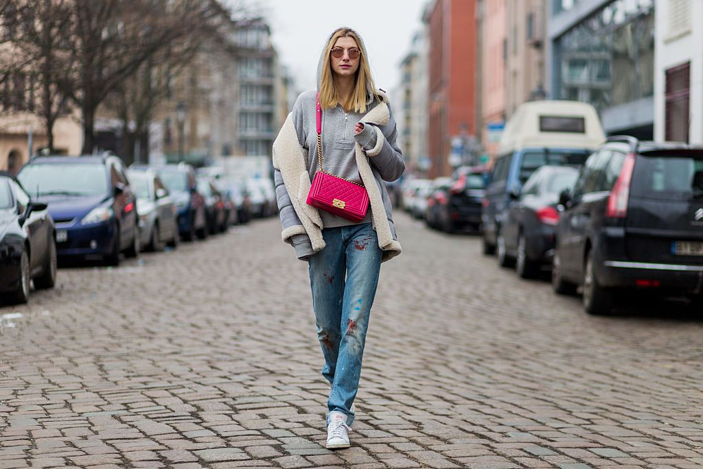 Street style denim and designer purse
