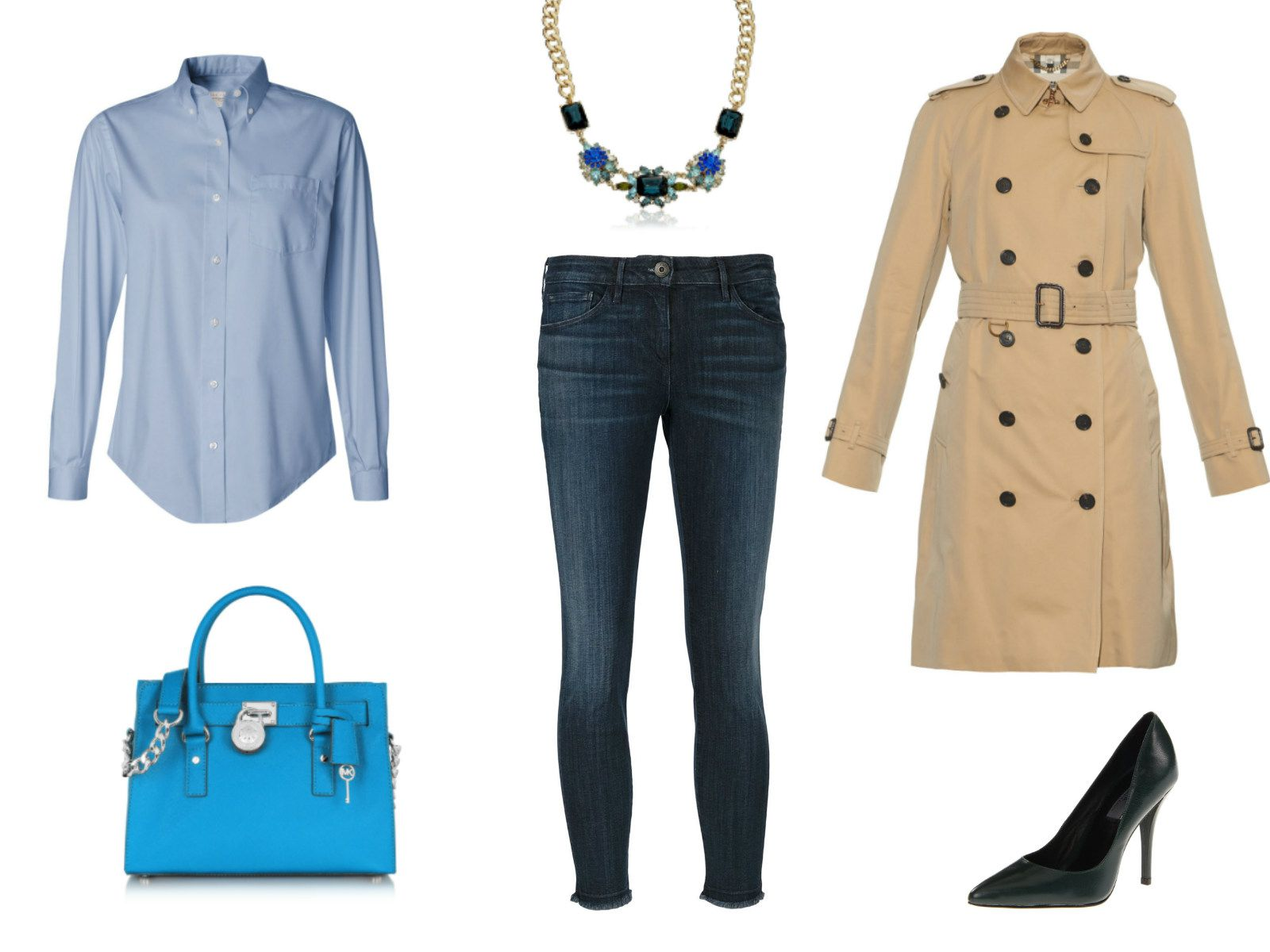 Outfit ideas - cropped skinny jeans and blue button-down