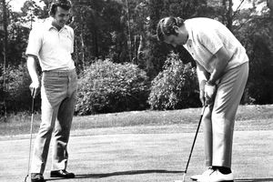 Tony Jacklin of England and Peter Alliss of England at Brickendon Grange Golf Club on August 19, 1971 in Hertford, England