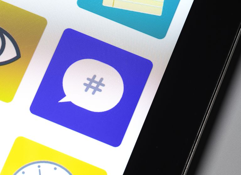 Image of a cell phone showing a hashtag symbol.