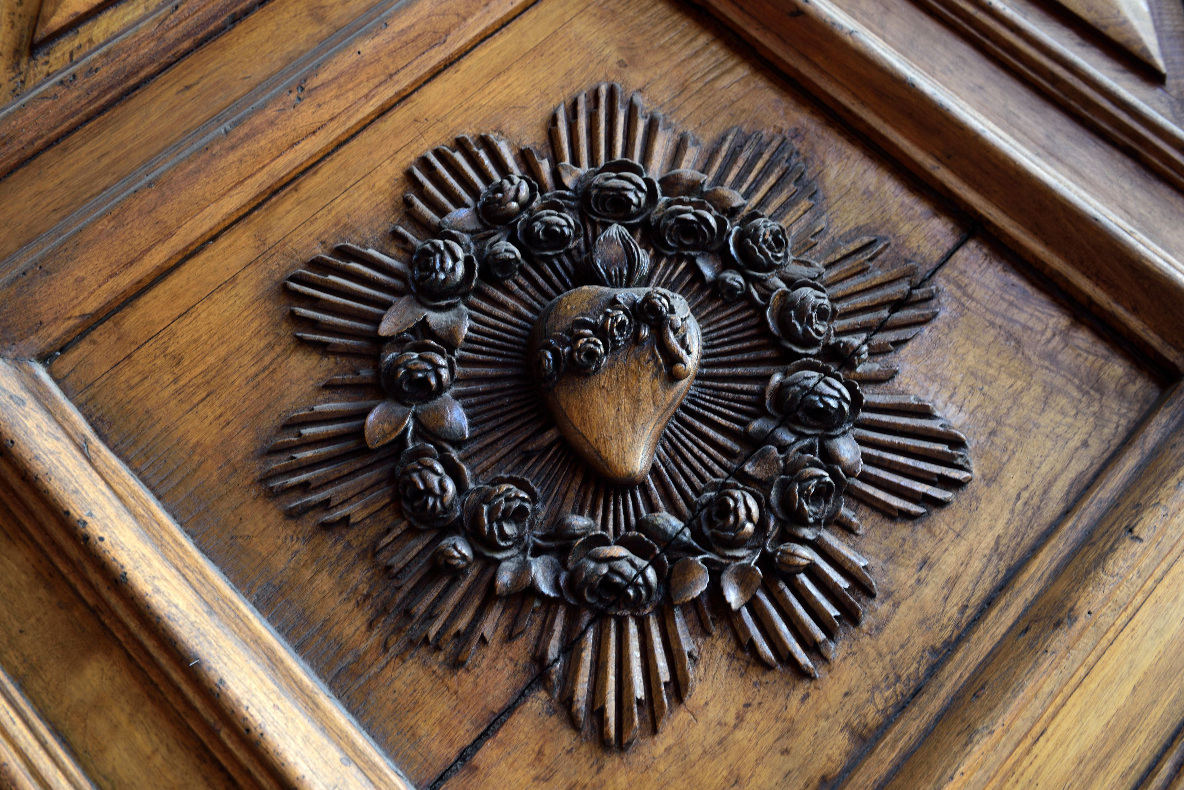 Detail of a door of at Iglesia San Agustín church of Santiago city in Chile