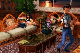 The Sims 2 living room scene with characters dancing, reading, and playing in it