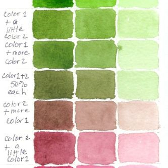 Color Mixing Charts Photo Gallery Sap Green + Rose Madder