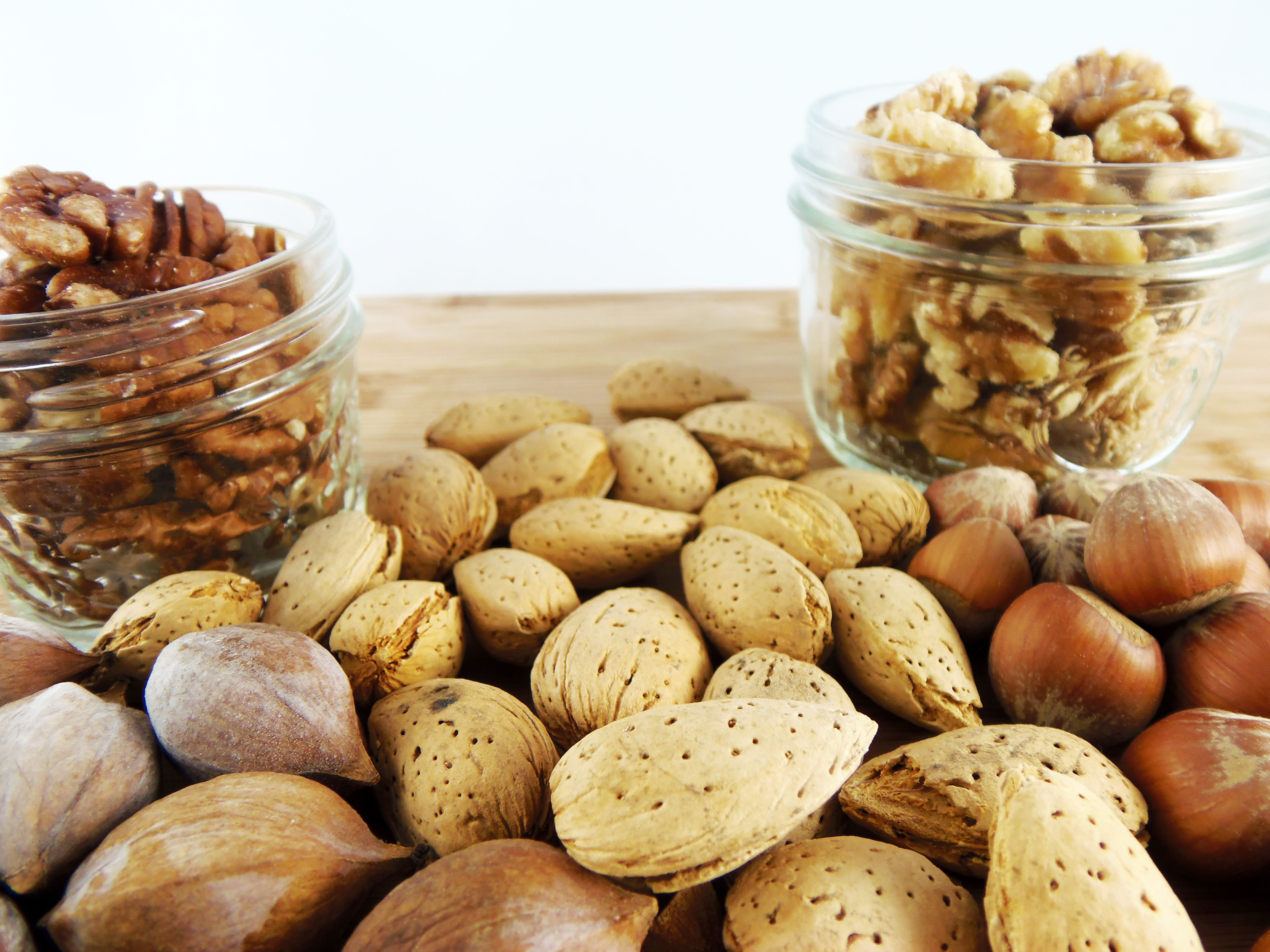 nuts in jars and on table