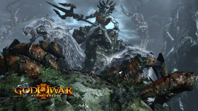 Evil god approaching the foreground in God of War III