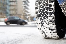 Snow tire on winter road conditions