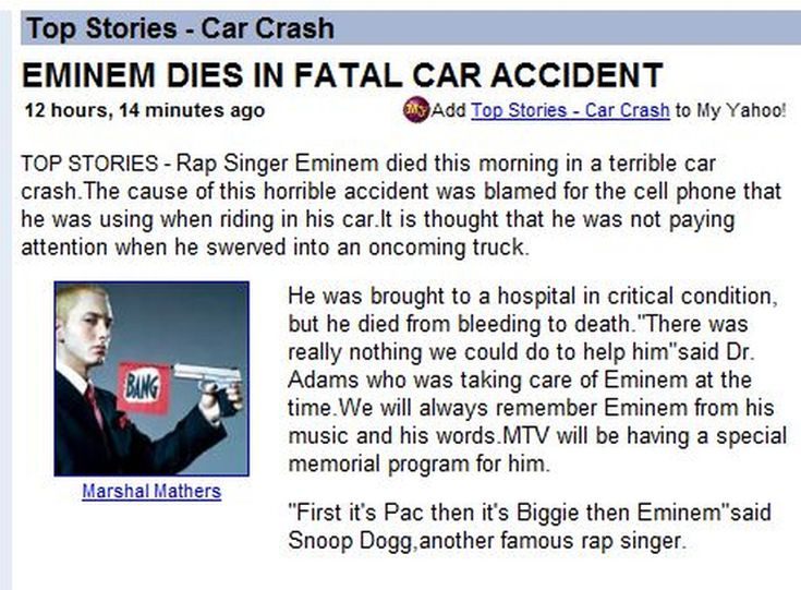 Did Eminem Die in a Car Crash?