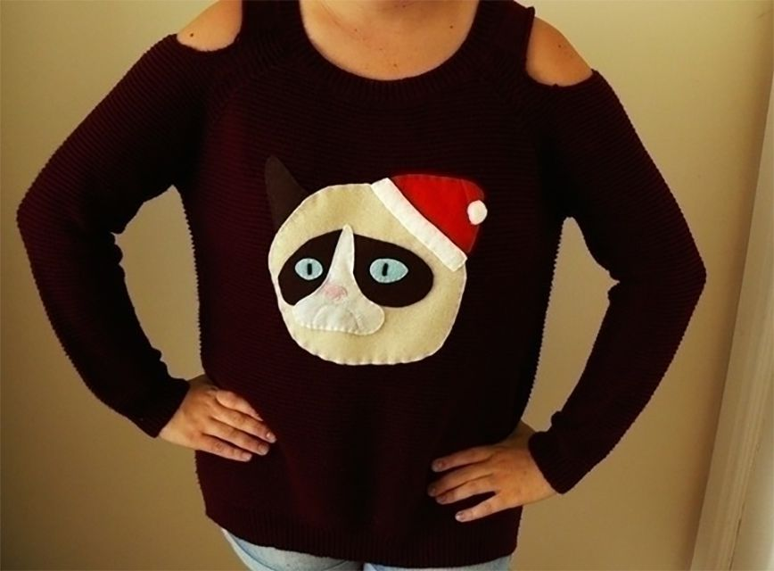 An ugly sweater with a grump cat on the front