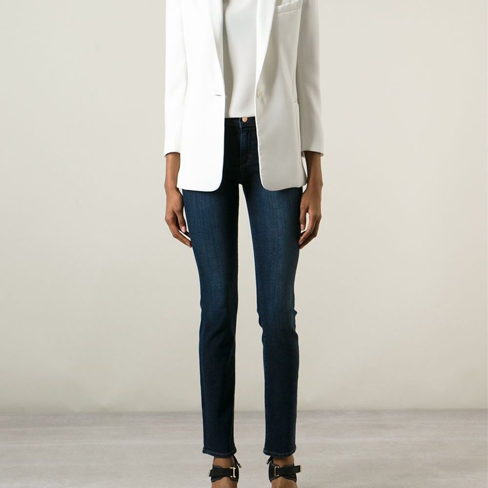 J Brand skinny jeans and white jacket