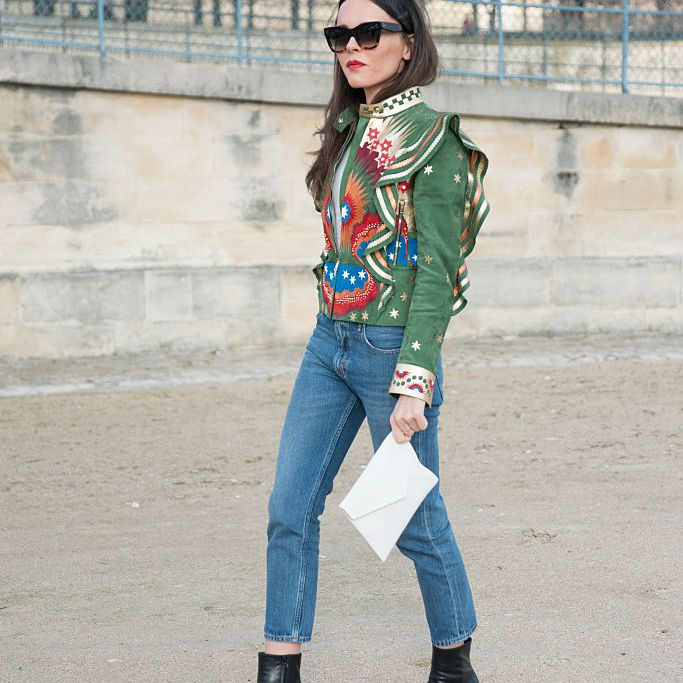 Street style Valentino jacket and jeans