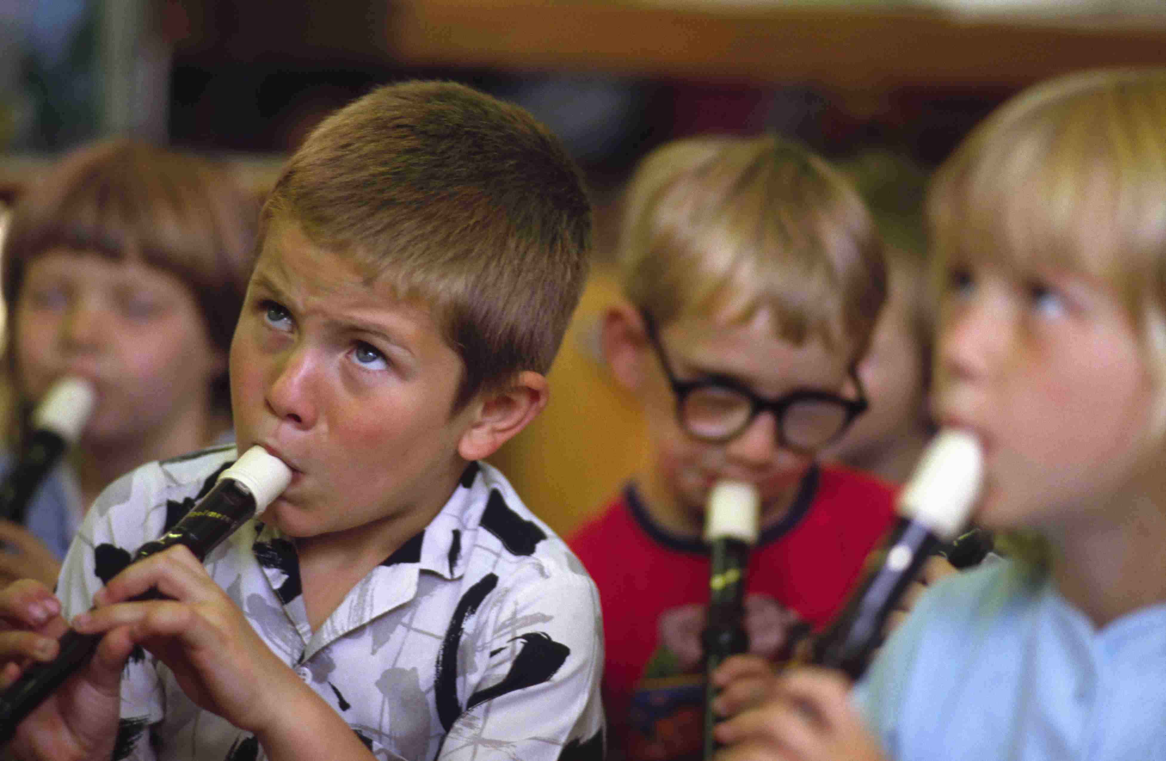 Children Playing Music on Recorders