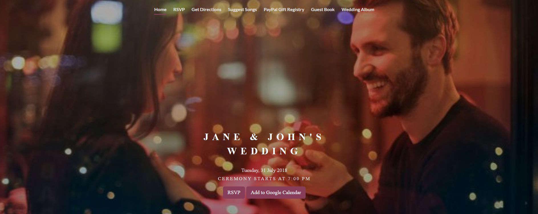 An online wedding invite with a man proposing