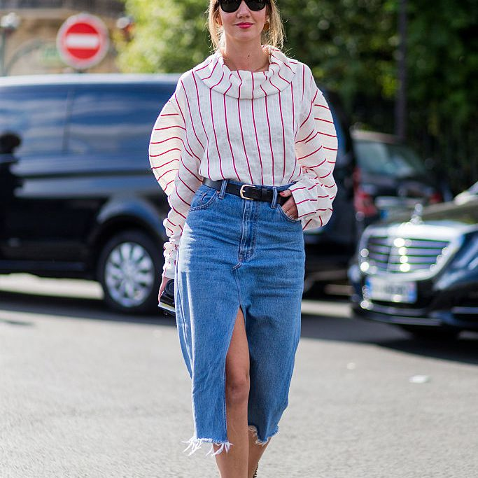 Street style in a denim skirt and stripes
