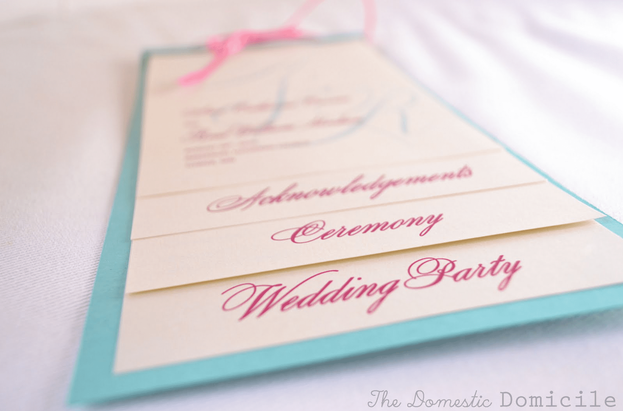 Picture of a blue and pink wedding program template