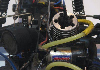 Engine on a Nitro Traxxas Rustler