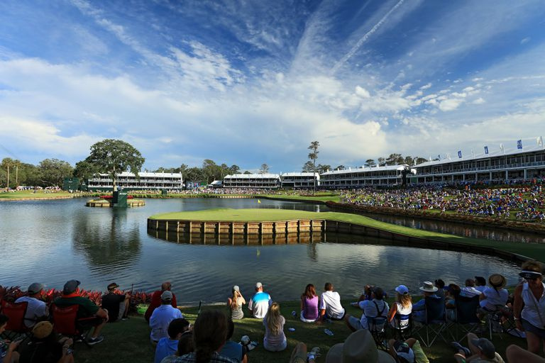 View of the 17th green on the Stadium Course at TPC Sawgrass.