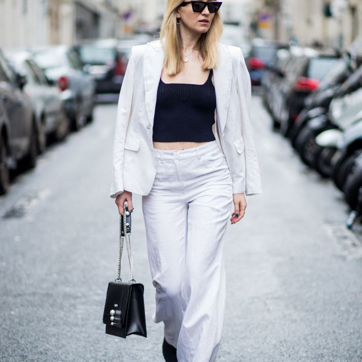 Street style white suit and black crop top