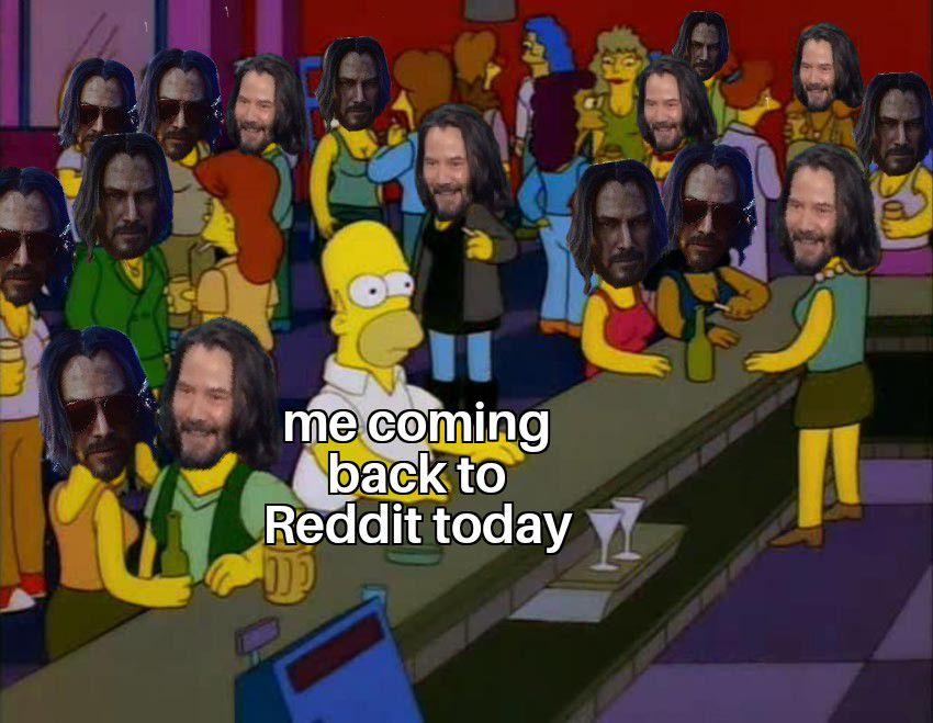 Simpsons scene with everyone wearing Keanu Reeves masks