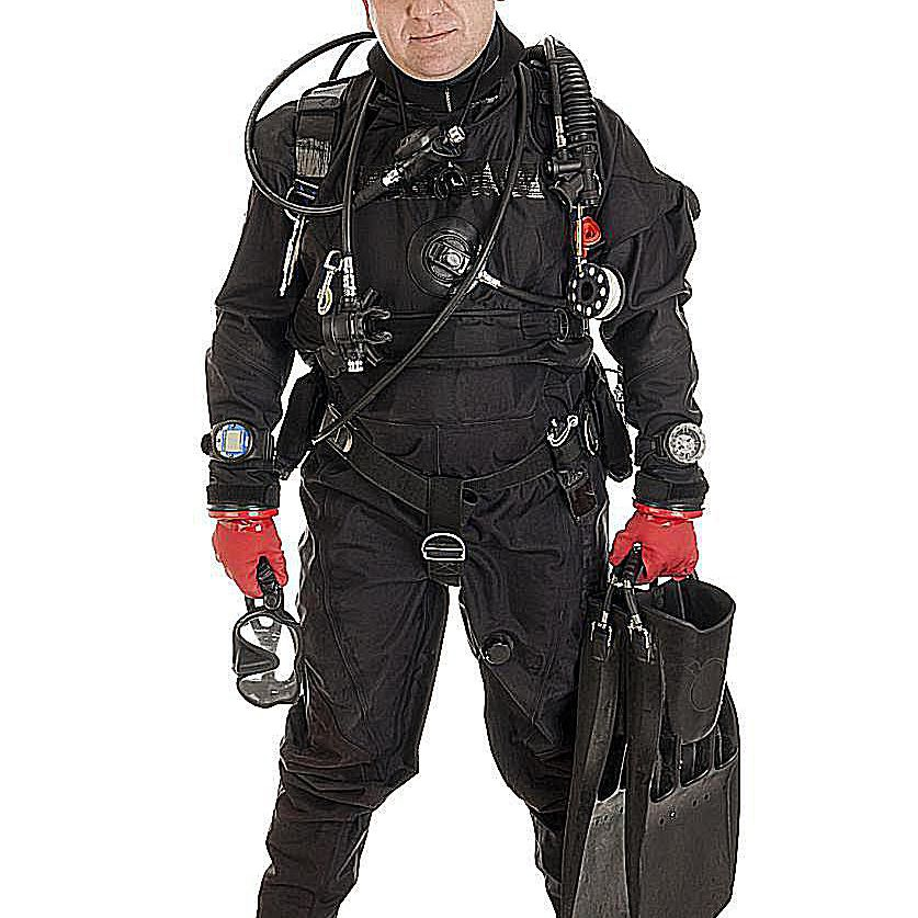 A diver poses wearing a drysuit
