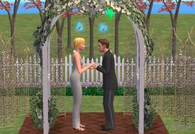 Couple getting married in The Sims 2