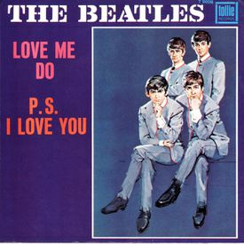 """The original UK picture sleeve for the single of """"Love Me Do"""""""